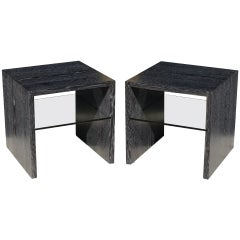 Pair of Cerused Oak End Tables