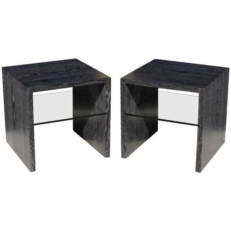 Pair of Cerused Oak End Tables For Sale
