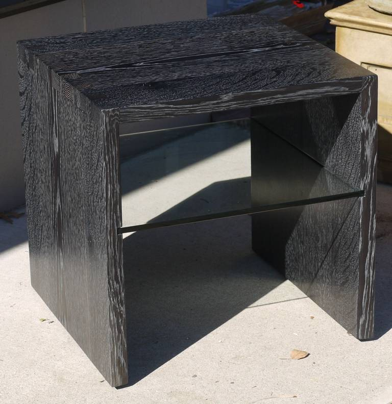 Pair of Cerused Oak End Tables For Sale 3
