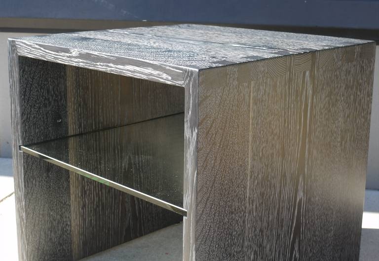 Pair of Cerused Oak End Tables For Sale 2