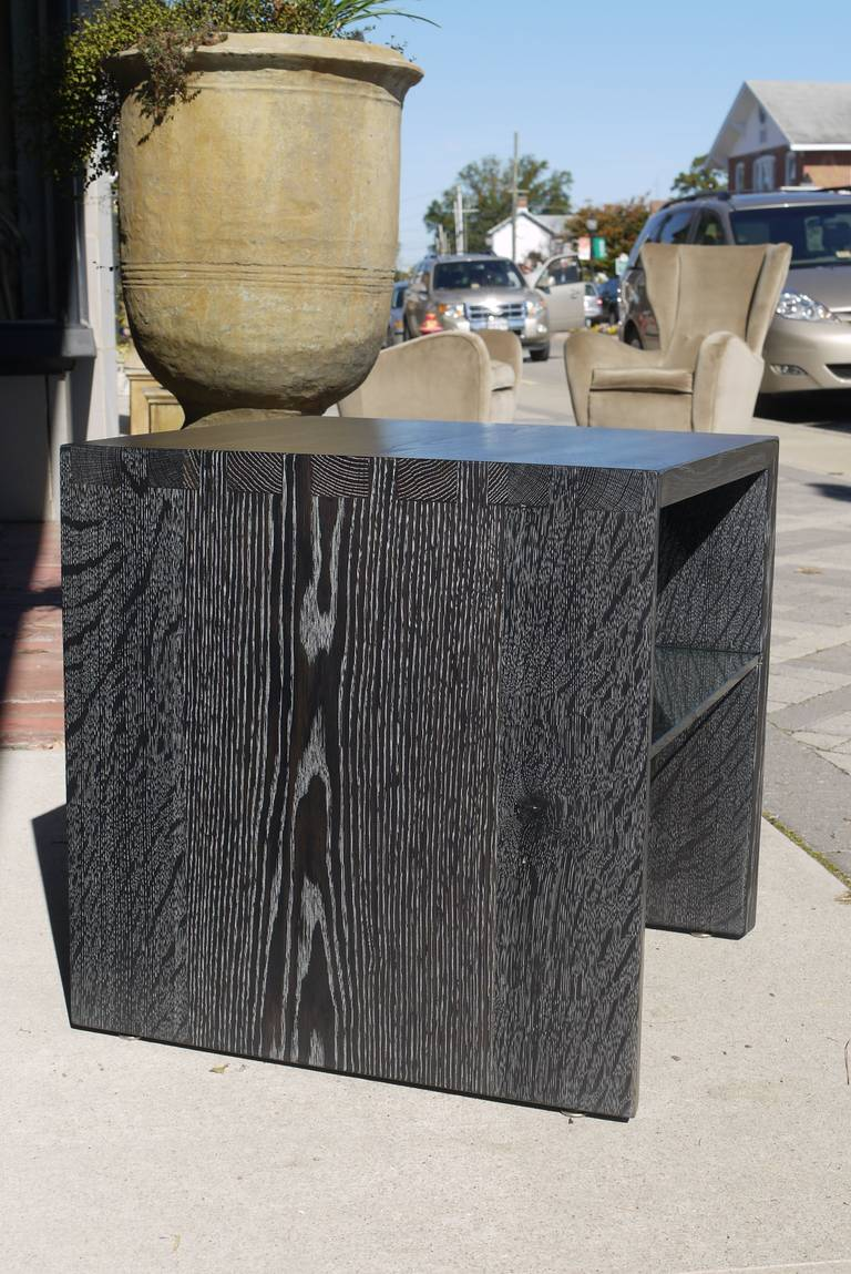 Pair of Cerused Oak End Tables For Sale 4