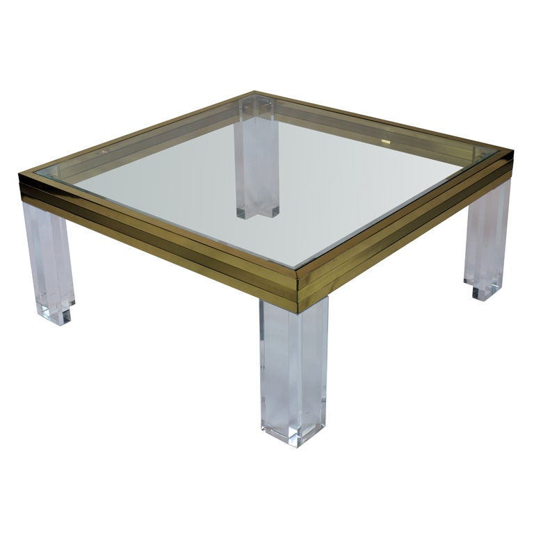 Lucite And Two Tone Brass Coffee Table Attr To Romeo Rega At 1stdibs