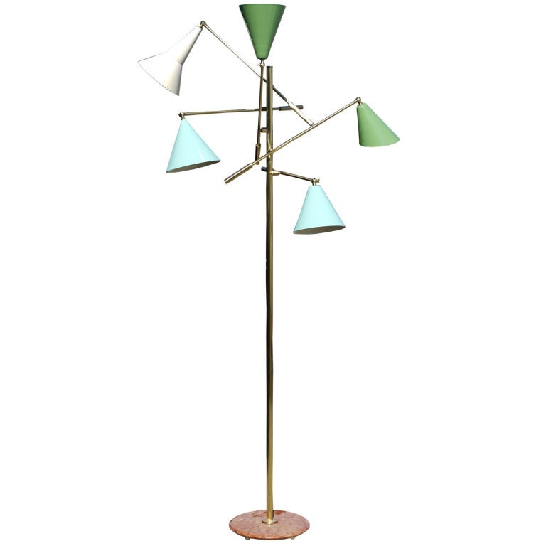 italian adjustable arm floor lamp at 1stdibs. Black Bedroom Furniture Sets. Home Design Ideas