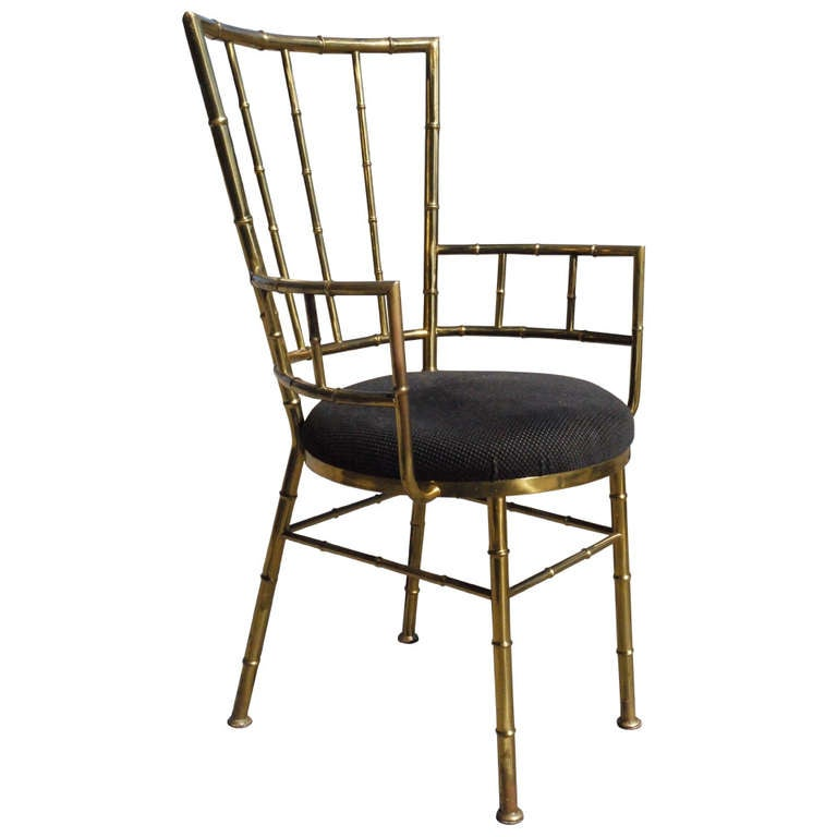 Stylish Italian Brass Faux Bamboo Chair At 1stdibs