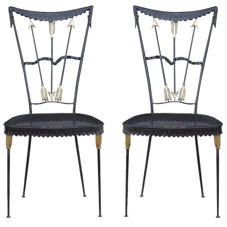 Pair of Arrow Chairs by Tomaso Buzzi For Sale