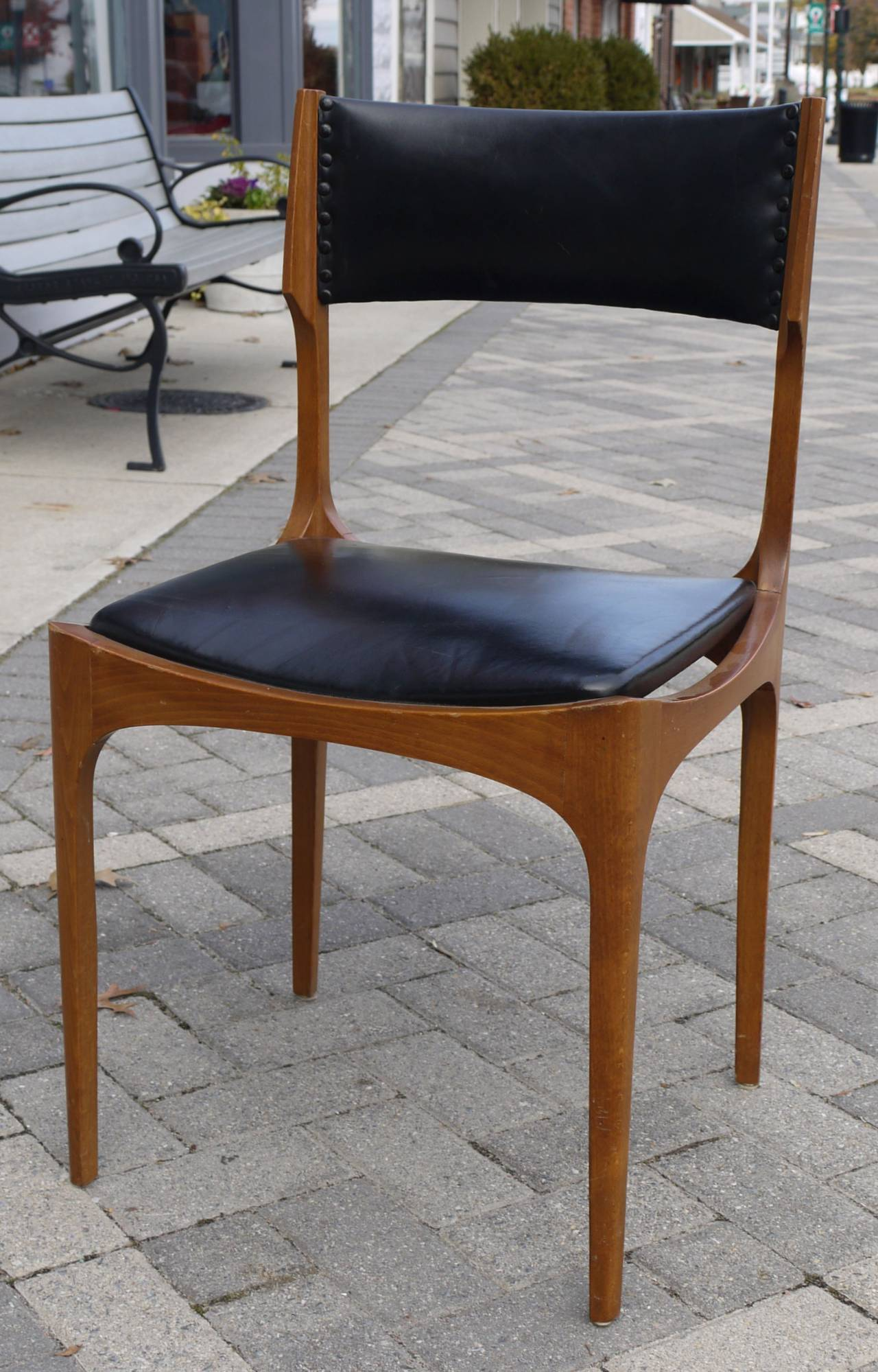 Sculptural Set Of Six Italian Walnut And Leather Dining