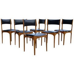 Sculptural Set of Six Italian Walnut and Leather Dining Chairs