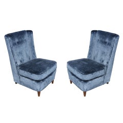 Pair of Paul Laszlo High Back Slipper Chairs