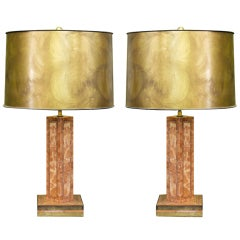 Pair of Maitland Smith Veneered Marble and Brass Lamps