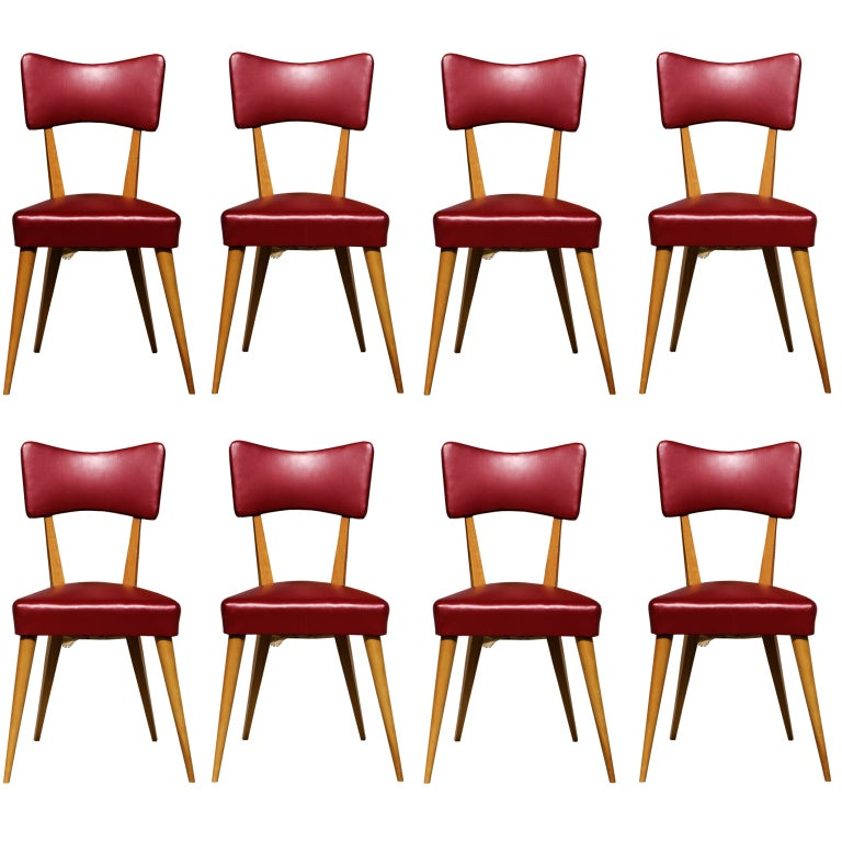 Stunning Set of 8 Italian Dining Chairs For Sale
