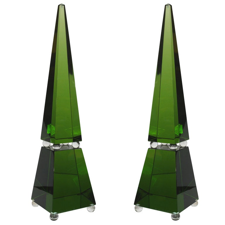Large Green Murano Glass Obelisks by Romano Dona For Sale