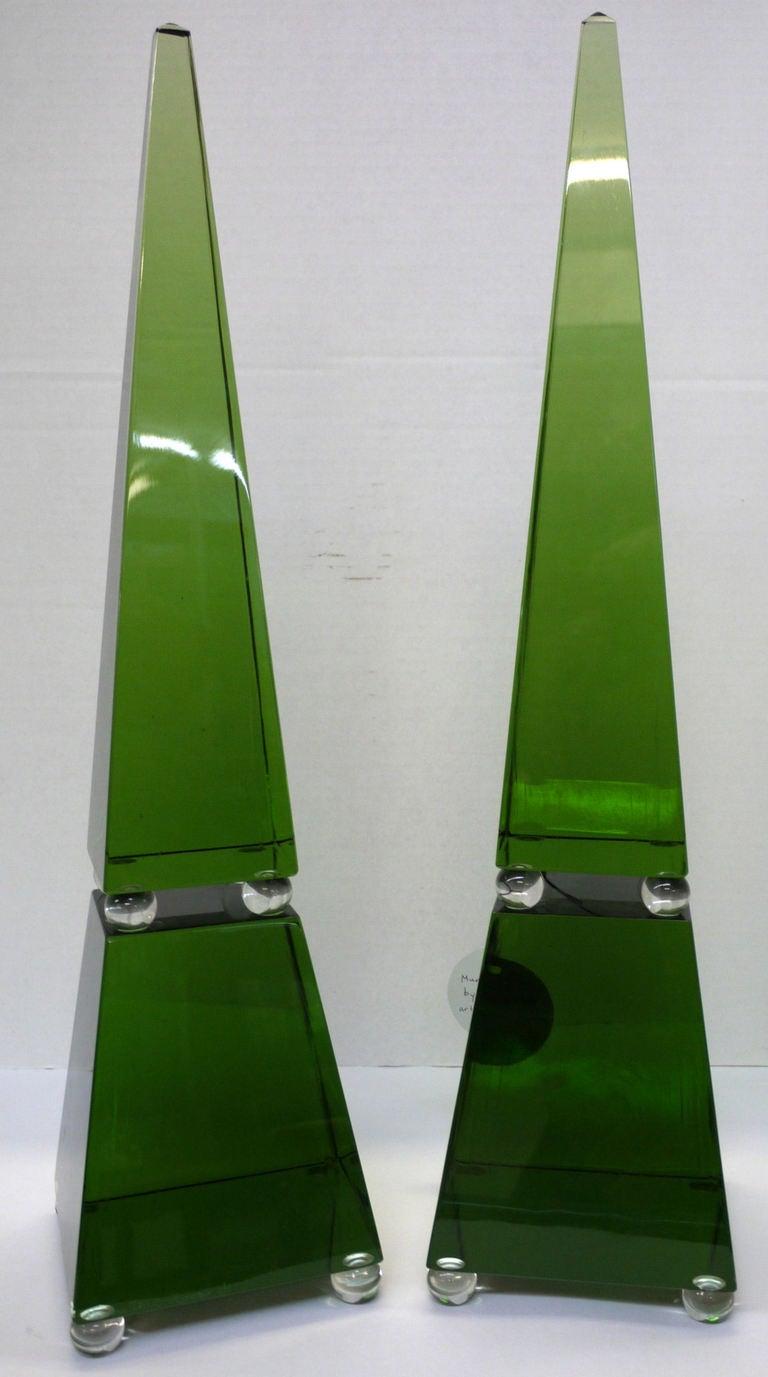 Italian Large Green Murano Glass Obelisks by Romano Dona For Sale