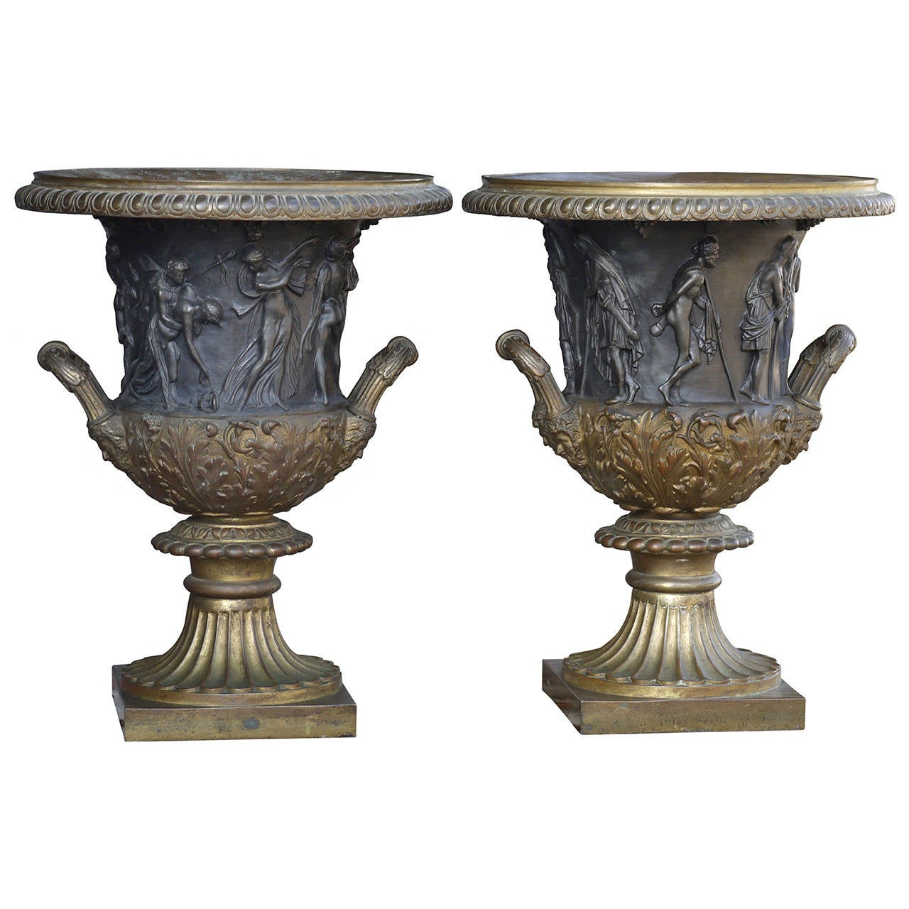 Pair of 19th Century Bronze Campana Urns After the Medici and Borghese Models For Sale