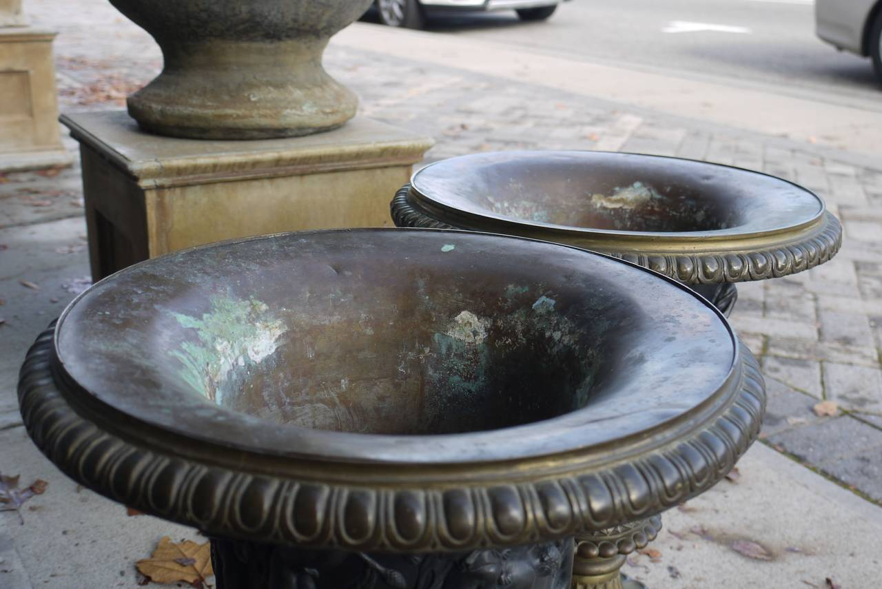 Pair of 19th Century Bronze Campana Urns After the Medici and Borghese Models For Sale 1