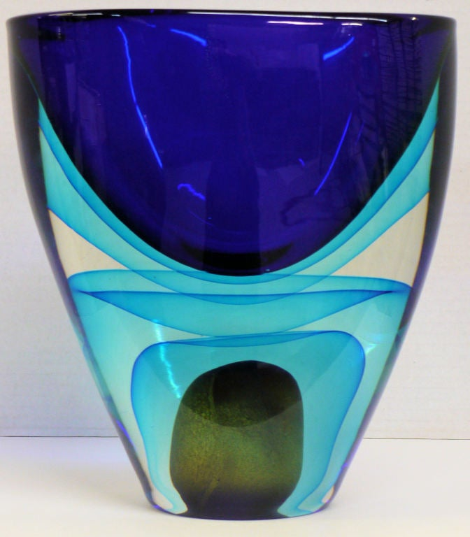 Large Sommerso Murano Glass Vase By Cenedese At 1stdibs