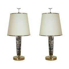 Pair of Nickel and Glass Lamps by Roberto Rida