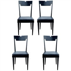Four Black Lacquered Chairs by Paolo Buffa