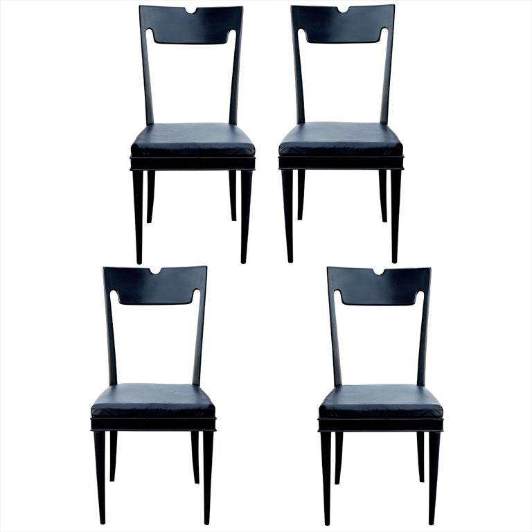 black lacquered furniture. four black lacquered chairs by paolo buffa 1 furniture