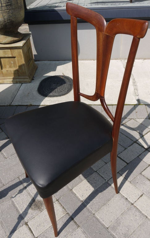 Mid-20th Century Elegant Set of 6 Italian Dining Chairs For Sale