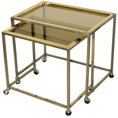 French Stainless and Brass Nesting Tables