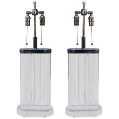 Chunky Pair of Karl Springer Style Lamps
