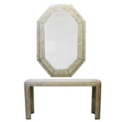 Maitland Smith Tessellated Coral Console and Mirror