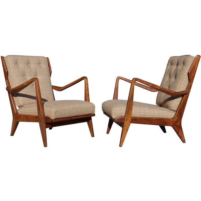 Pair of Gio Ponti Armchairs by Cassina For Sale