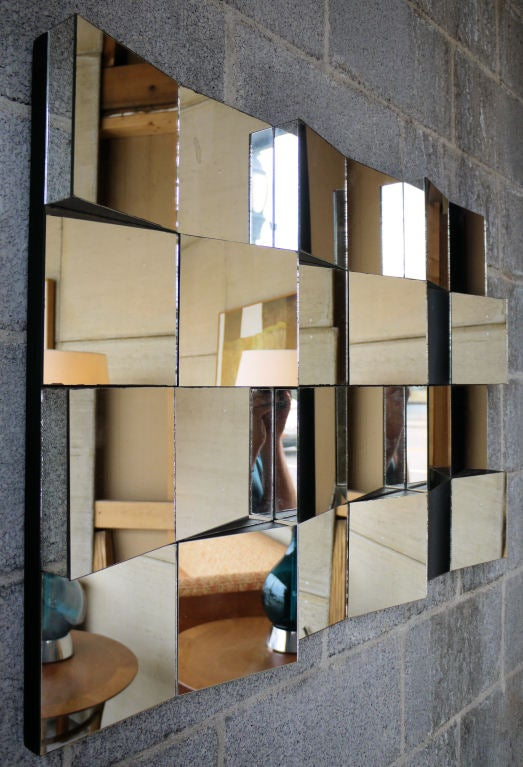 Faceted hanging mirror after neal small for sale at 1stdibs for Small hanging mirror