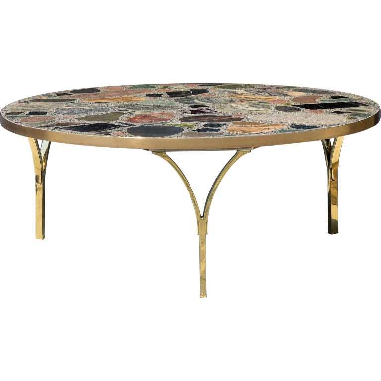 Architectural italian coffee table with terazzo top at 1stdibs for Architectural coffee table