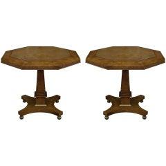 Pair of Amboyna Burl Pedestal End Tables by Mastercraft