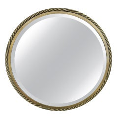 Vintage French Brass Faux Rope Mirror