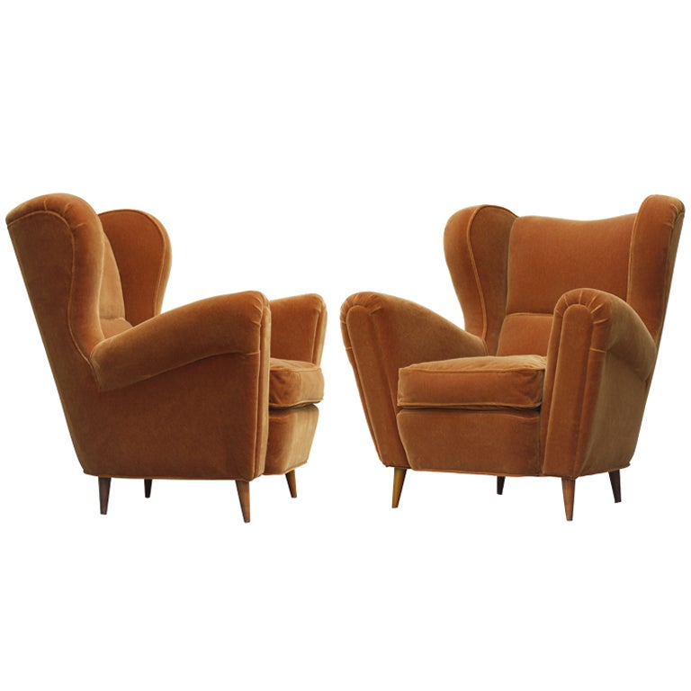 Large Sculptural Italian Wing Chairs in Mohair