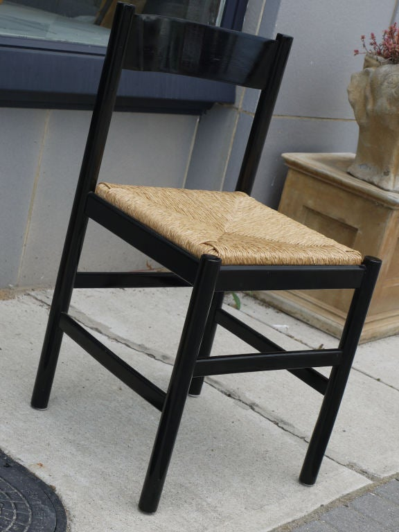 this set of 6 black lacquer and rush italian chairs is no longer