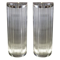 Pair of Chrome and Glass Tube Sconces