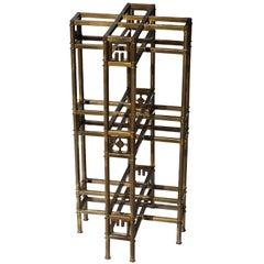 Architectural Patinated Brass Pedestal by Mastercraft