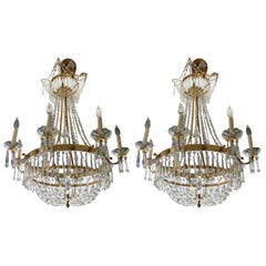 Pair of Neoclassic Gilt Swedish Chandeliers