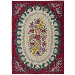 Antique American Hooked Rug with Floral Design