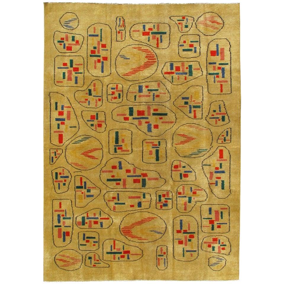 Yellow Background Vintage Turkish Mid Century Modern Rug With Geometric  Motifs 1