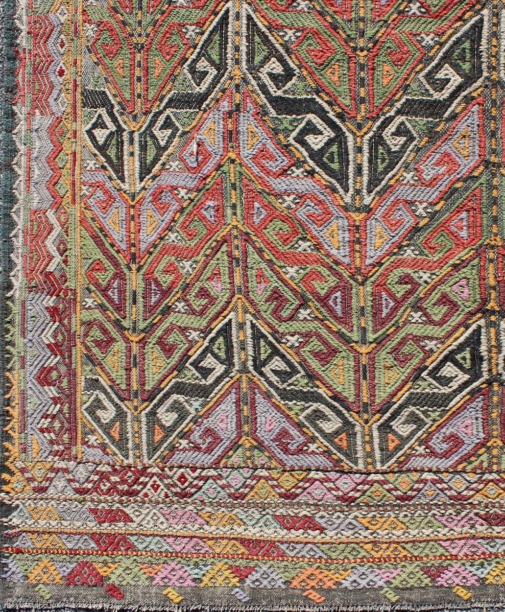 Vintage Embroidered Kilim Jajeem Rug For Sale At 1stdibs