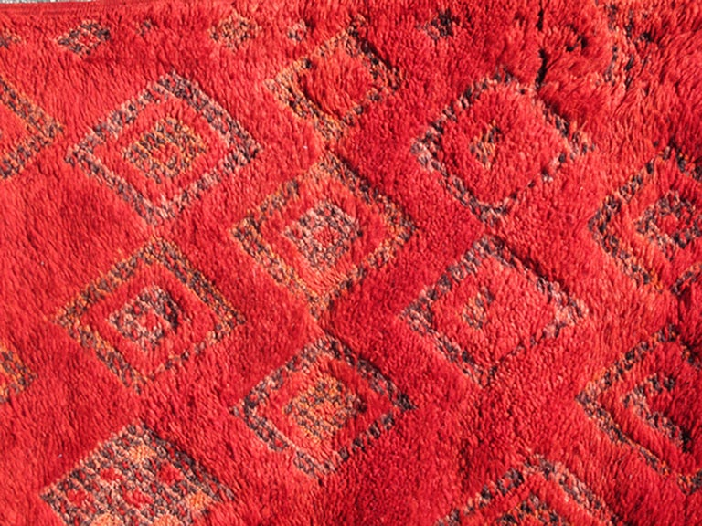 Vintage Moroccan Rug with Red Diamond Pattern and Zig-Zag Design 7