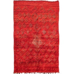 Vintage Moroccan Rug with Red Diamond Pattern and Zig-Zag Design