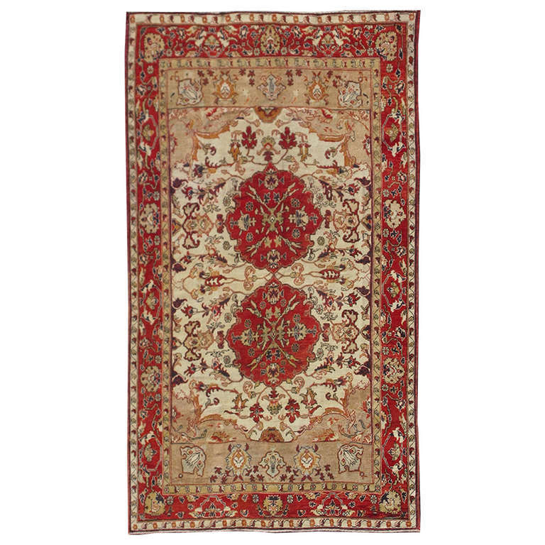 Antique turkish sivas rug with red and cream colors for for Cream and red rugs