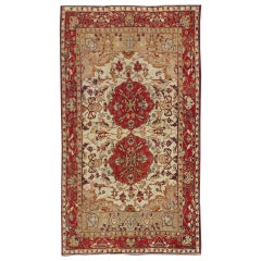 Antique Turkish Sivas Rug with Red, Taupe, Light Green and Cream Colors