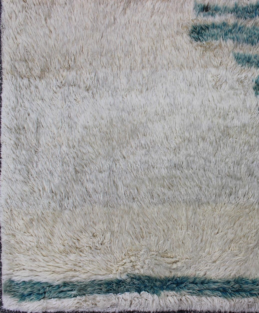 20th Century Unique Turkish Vintage Tulu Rug with Modern Design in Teal & Off White  For Sale