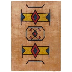 Geometric Mid Century Modern Rug with art deco design