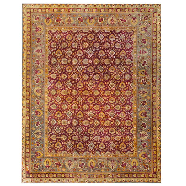 Antique Indian Agra Rug For Sale At 1stdibs: Elegant Indian Agra Rug For Sale At 1stdibs