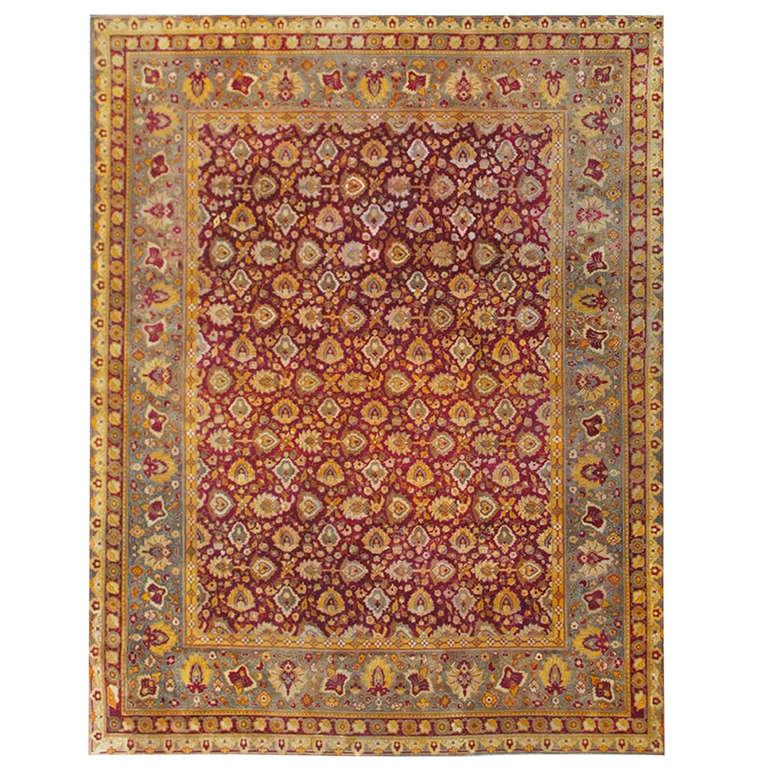 Deep Burgundy Indian Agra Rug For Sale At 1stdibs: Elegant Indian Agra Rug For Sale At 1stdibs