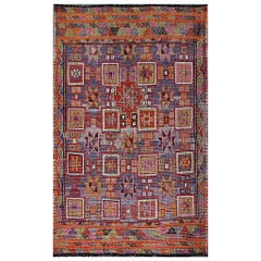 Vintage Embroidered Flat Weave Kilim Rug with Geometrics and Squared Design