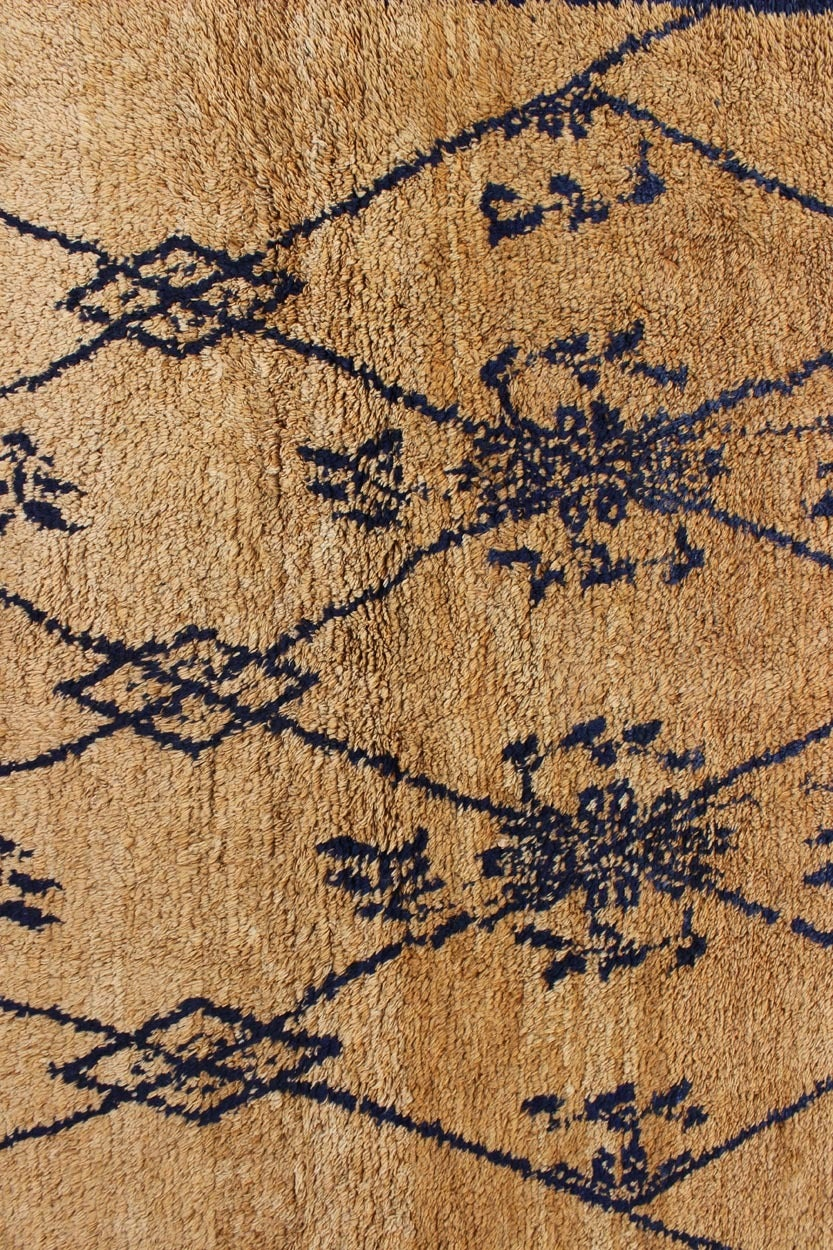 Turkish Vintage Blue Tulu Rug For Sale