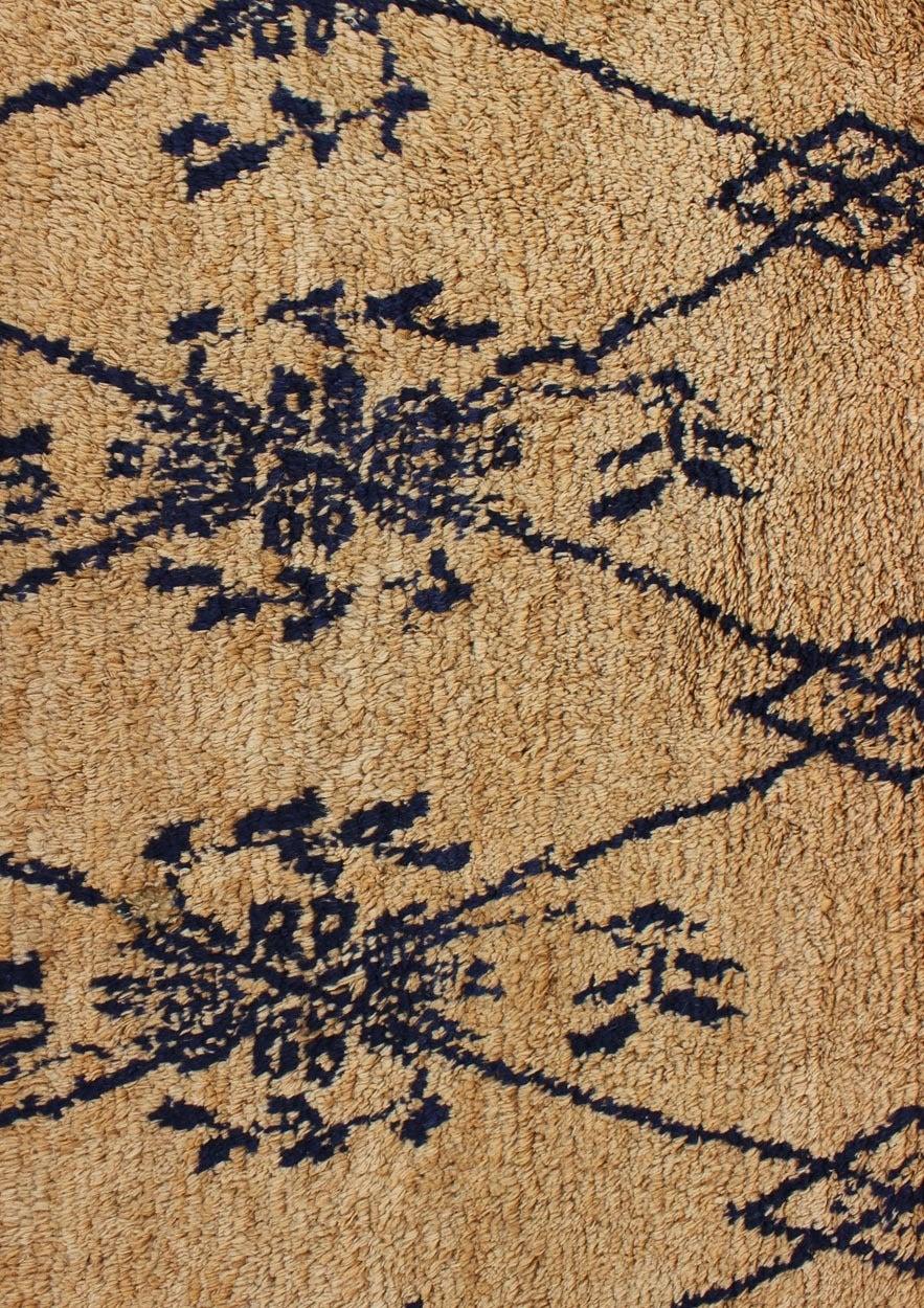 Mid-20th Century Vintage Blue Tulu Rug For Sale